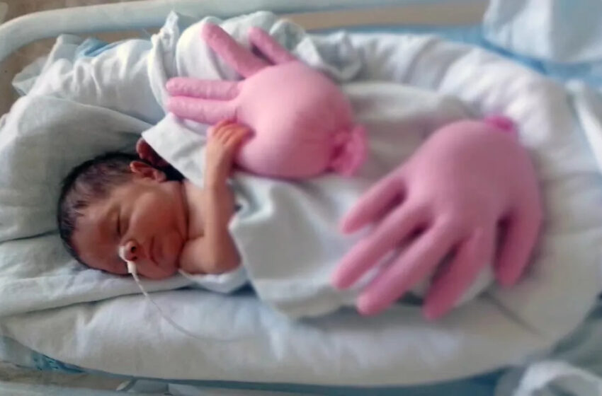 Cheias de arroz, luvas simulam sensação do útero e ajudam a acalmar bebês prematuros