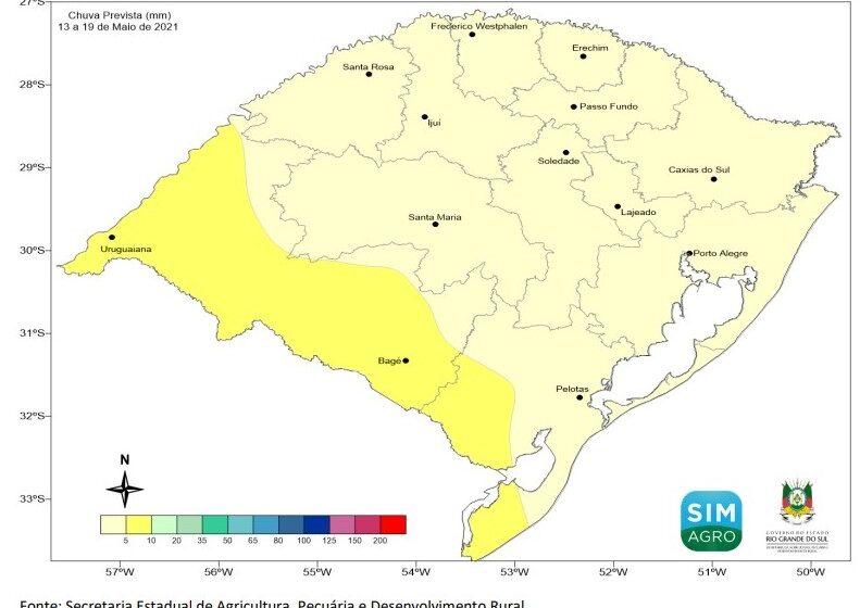 Previsão meteorológica para a semana de 13 a 19 de maio de 2021