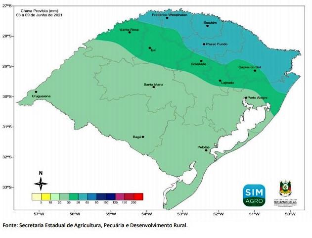 Previsão meteorológica para a semana de 03 a 09/06/2021
