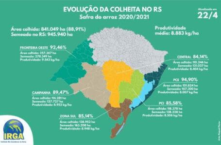 Faltam 11% para a safra ser concluída. (Arte: Raquel Flores/Irga)